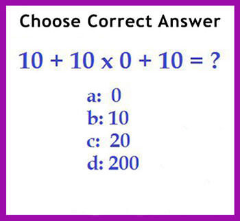 Printables Maths Question Simple Pics brain games and training math skills braingymmer if you follow the bodmas technique will find that answer is c 20